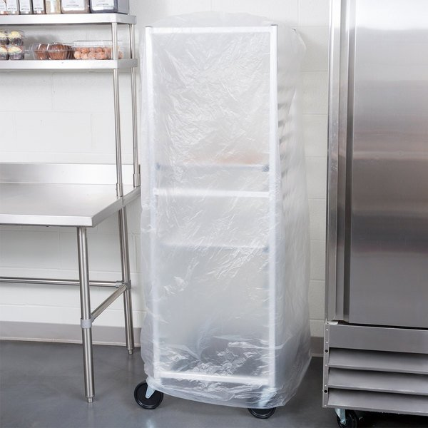 "52"" x 80"" Disposable .6 Mil Bun Pan Rack Covers - 50/Roll"