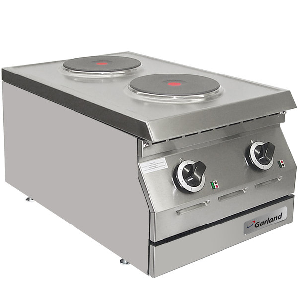 """Garland ED-15THSE Designer Series 15"""" Two Solid Burner Electric Countertop Hot Plate - 240V, 3 Phase, 4 kW Main Image 1"""
