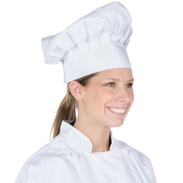 """Chef Revival H400WH 13"""" White Poly-Cotton Blend Chef Hat with Adjustable Head Band"""