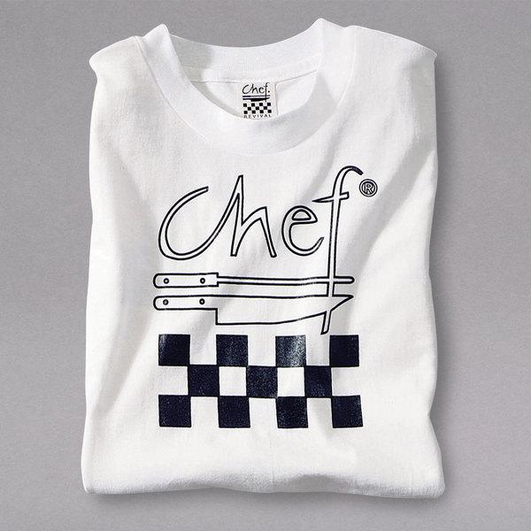 Chef Revival TS001-L Chef Logo White T-Shirt - Cotton Size L
