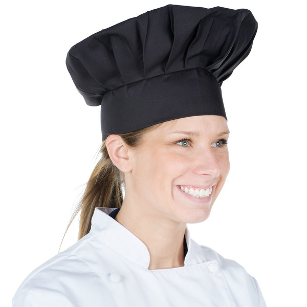 """Chef Revival Customizable 13"""" Black Chef Hat with Adjustable Head Band Main Image 1"""