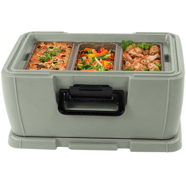 """Carlisle IT18062 Olive 8"""" Deep Top Loading Insulated Food Pan Carrier"""