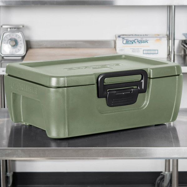 """Carlisle IT16062 Olive 6"""" Deep Top Loading Insulated Food Pan Carrier"""