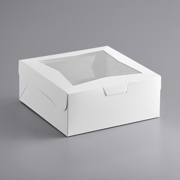 "Baker's Mark 12"" x 12"" x 5"" White Window Cake / Bakery Box - 100/Bundle Main Image 1"