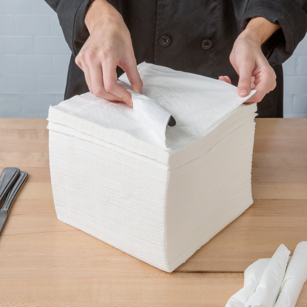 "Choice 16"" x 16"" WrapNap White 1/4 Fold 2-Ply Dinner Napkin - 3000/Case Main Image 3"