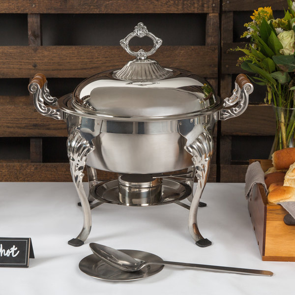 Choice Classic 5 Qt. Half Size Round Chafer Main Image 4