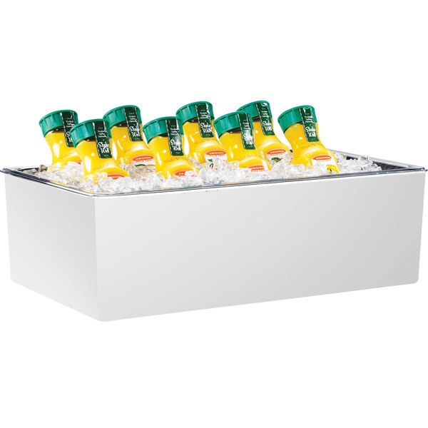 """Cal-Mil 475-12-15 White Melamine Ice Housing with Clear Pan - 20"""" x 12"""" x 6"""""""