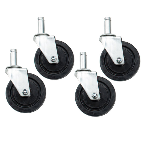 "Advance Tabco EC-25 Equivalent 5"" Rubber Casters for Wire Shelves - 4/Set"