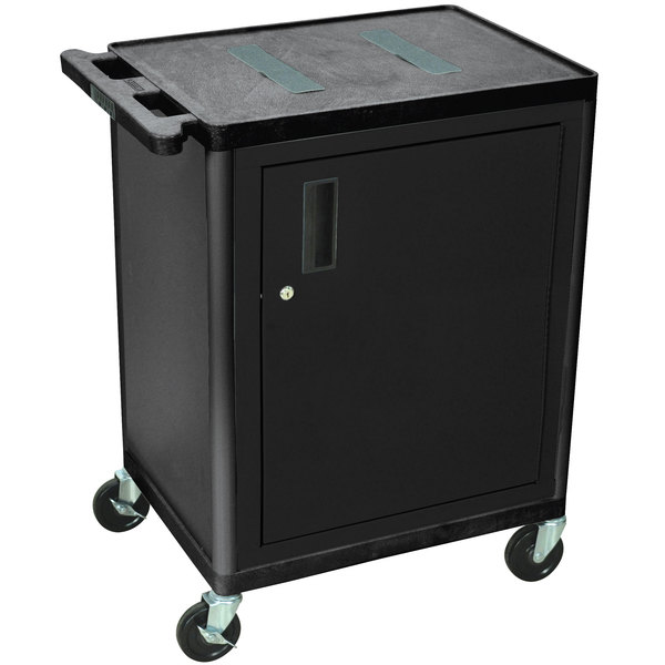 Luxor Kitchen Cabinets: Luxor LEF34C-B 2 Shelf Black A/V Cart With Locking Cabinet