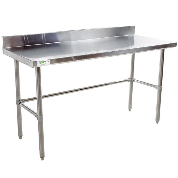 "Regency 24"" x 72"" 16-Gauge 304 Stainless Steel Commercial Open Base Work Table with 4"" Backsplash Main Image 1"