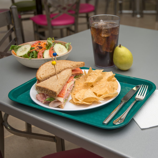 "Carlisle CT101415 Cafe 10"" x 14"" Teal Standard Plastic Fast Food Tray"