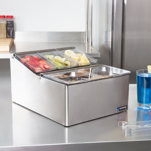 San Jamar FP9125FL EZ-Chill 5-Compartment Stainless Steel Condiment Bar Main Image 7
