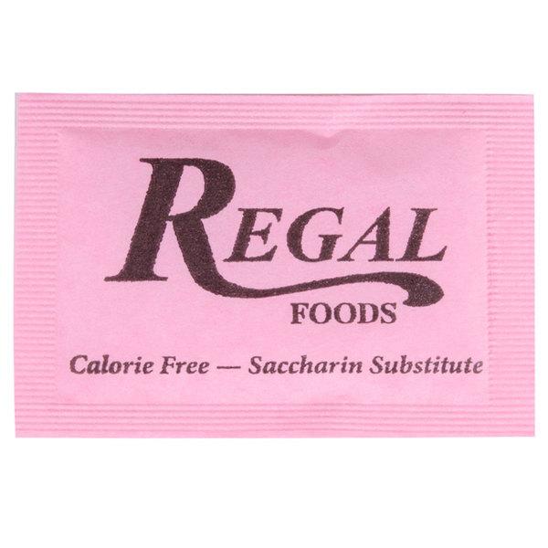 Regal 1 Gram Pink Saccharin Sugar Substitute Packet - 2000/Case