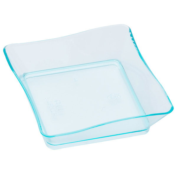 Fineline Tiny Temptations 6201 Grn 2 1 4 X 2 1 4 Tiny Trays Disposable Green Plastic Tray 10 Pack