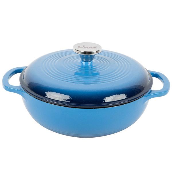 Lodge EC3D33 3 Qt. Caribbean Blue Color Enamel Dutch Oven