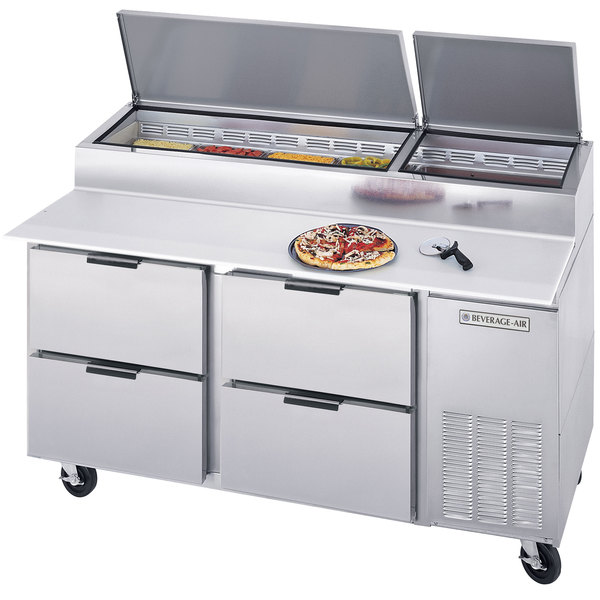 """Beverage-Air DPD67-4 67"""" Four Drawer Pizza Prep Table"""