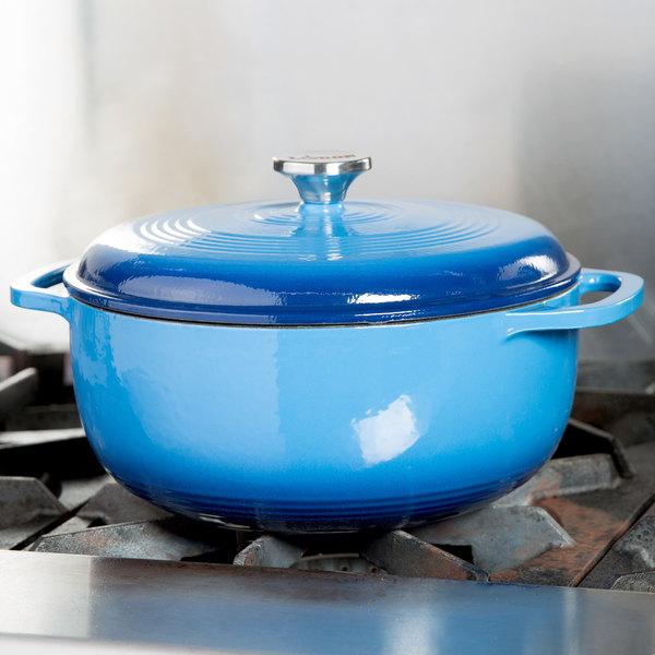 Lodge EC6D33 6 Qt. Caribbean Blue Color Enamel Dutch Oven