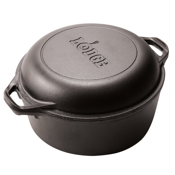 Lodge L8dd3 5 Qt Pre Seasoned Cast Iron Double Dutch Oven With Loop Handles