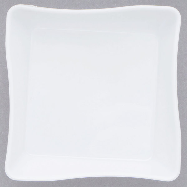 Fineline Tiny Temptations B6201-WH 2 1/4 inch x 2 1/4 inch White Plastic Tiny Tray - 10/Pack