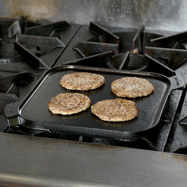 "Lodge LSRG3 10 1/2"" Pre-Seasoned Cast Iron Reversible Grill / Griddle"