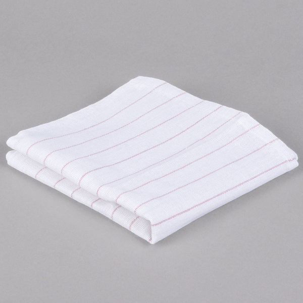 """Chef Revival 702GT 16"""" x 29"""" Red Pinstripe Cotton Glass Polishing Towel - 12/Pack"""
