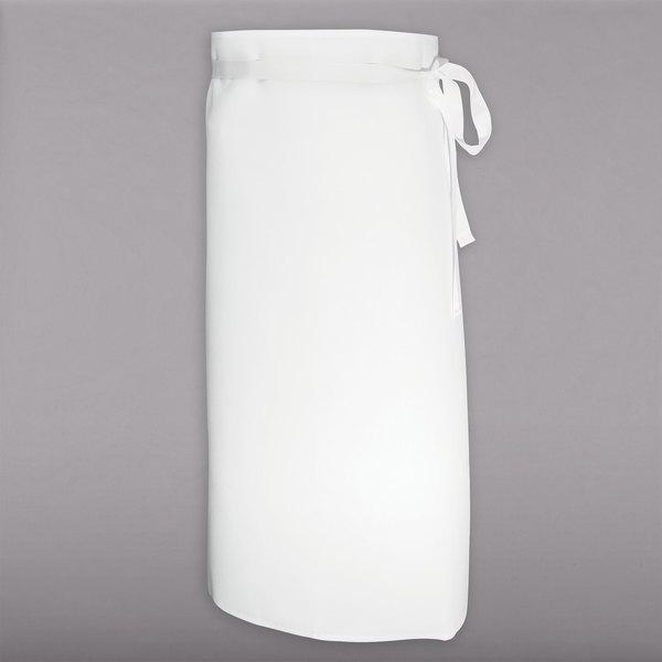 "Chef Revival White Poly-Cotton Customizable Bistro Apron - 33""L x 30""W"