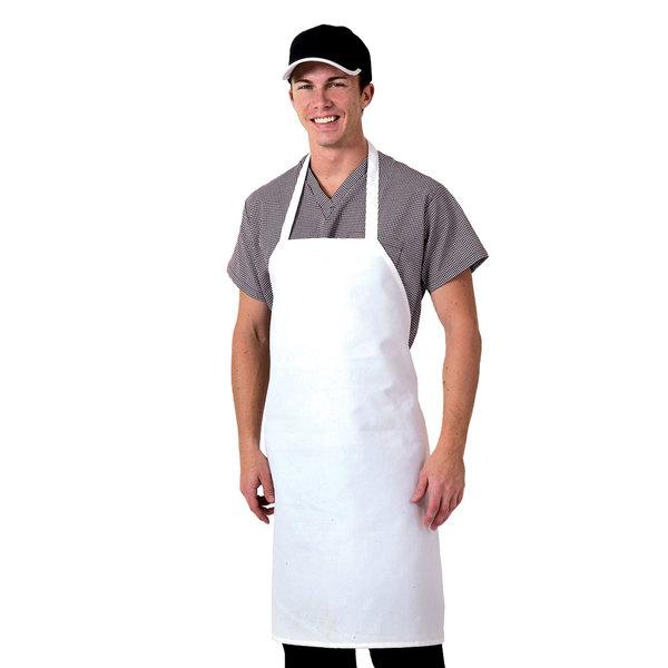 "Chef Revival 600PS-NP 32"" x 27"" Customizable White Polyester Bib Apron"