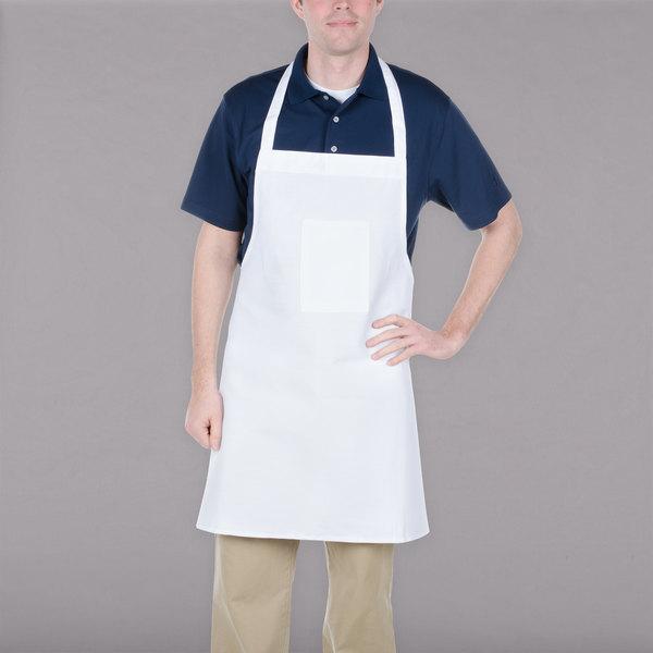 "Chef Revival 600BAW-XL 38"" x 30"" Customizable Extra Wide White Poly-Cotton Bib Apron"