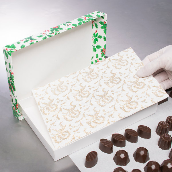 "9 1/4"" x 5 7/8"" 3-Ply Glassine 1/2 lb. White Candy Box Pad with Gold Floral Pattern - 250/Case Main Image 3"