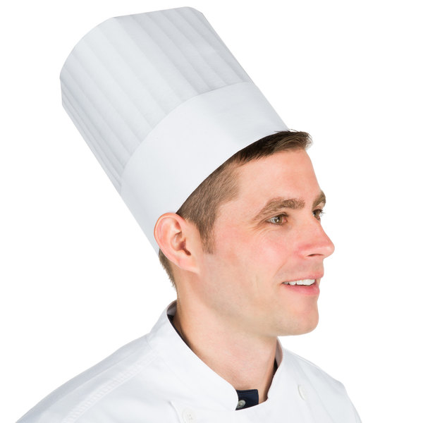 "Chef Revival 8 1/2"" Pinstripe Chef Hat with Adhesive Closure - 50/Pack Main Image 1"