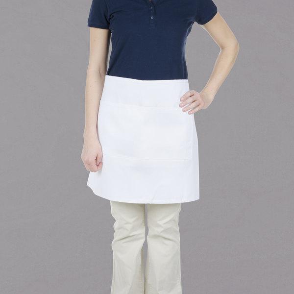 "Chef Revival 607HBA2-WH 28"" x 19"" Customizable Two Pocket White Bistro Apron"