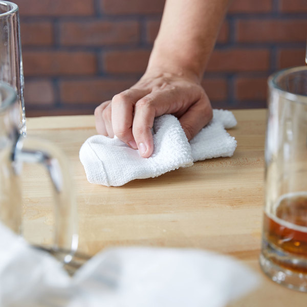 """Chef Revival 700BRT32 16"""" x 19"""" White 32 oz. Ribbed 100% Cotton Bar Towel - 12/Pack"""