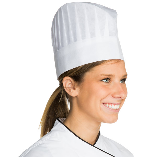 """Chef Revival 7"""" Disposable Non-Woven Corporate Chef Hat with Vented Top - 25/Case"""