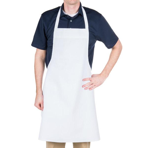 """Chef Revival 600BAW-NP Customizable Economy White Poly-Cotton Bib Apron - 34""""L x 34""""W"""
