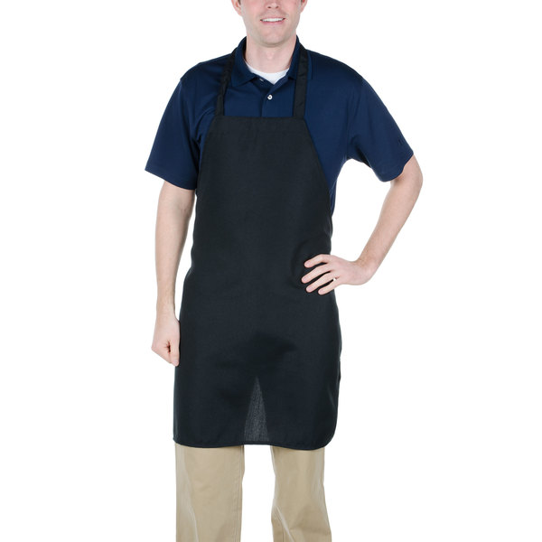 Chef Revival 600PS-NP-BK 32 inch x 28 inch Customizable Black Polyester Bib Apron