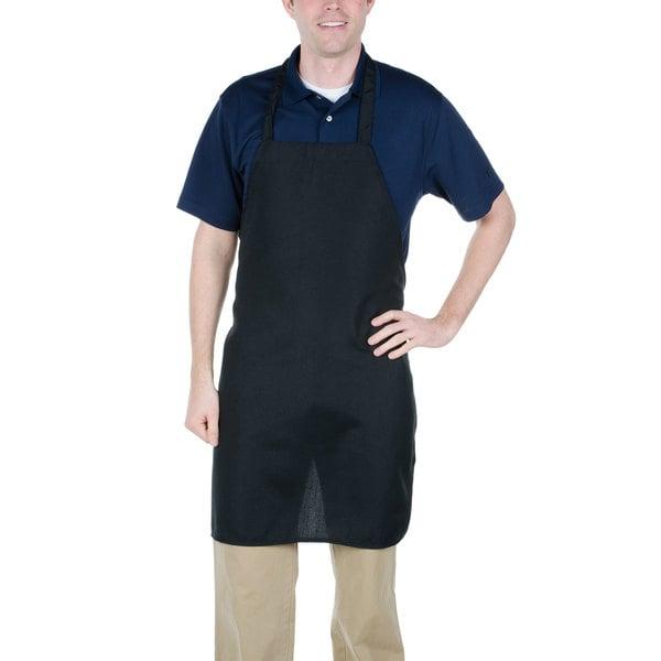 "Chef Revival 600PS-NP-BK 32"" x 27"" Customizable Black Polyester Bib Apron"