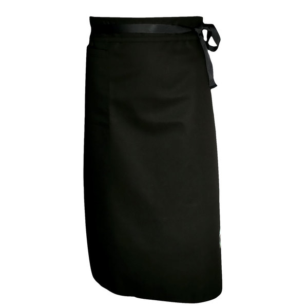 "Chef Revival A011BK Customizable Black Chef Bistro Apron with Right Hip Pocket - 33""L x 28""W"