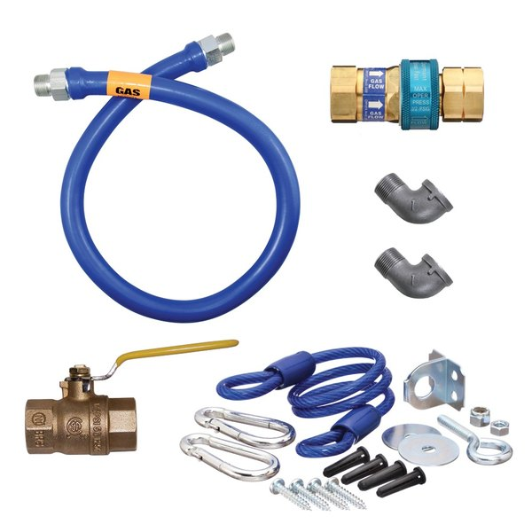 "Dormont 16100KIT60 Deluxe SnapFast® 60"" Gas Connector Kit with Two Elbows and Restraining Cable - 1"" Diameter"