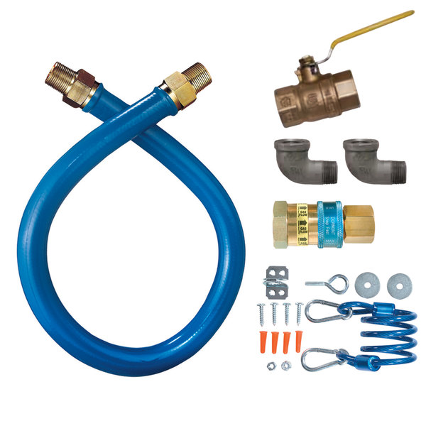 """Dormont 16100KIT72 Deluxe SnapFast® 72"""" Gas Connector Kit with Two Elbows and Restraining Cable - 1"""" Diameter"""