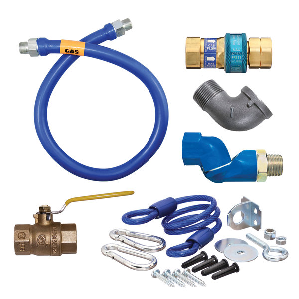 """Dormont 16100KITS60 Deluxe SnapFast® 60"""" Gas Connector Kit with Swivel MAX®, Elbow, and Restraining Cable - 1"""" Diameter"""