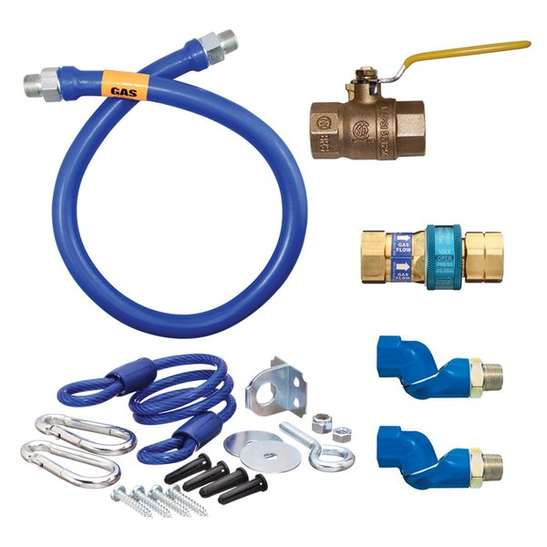 """Dormont 16125KIT2S60 Deluxe SnapFast® 60"""" Gas Connector Kit with Two Swivels and Restraining Cable - 1 1/4"""" Diameter"""