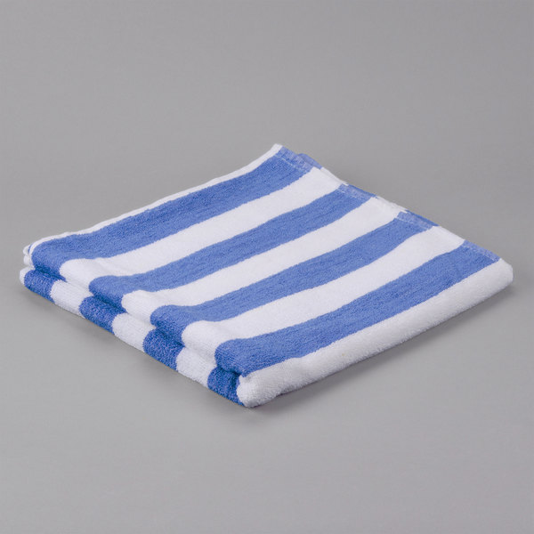 """Pack of 12 Hotel Pool Towel - Blue Stripe 30"""" x 60"""" 100% 2 Ply Cotton 9 lb."""