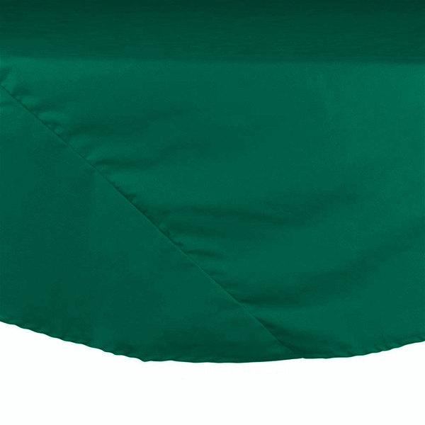 "90"" Green Round Hemmed Polyspun Cloth Table Cover"
