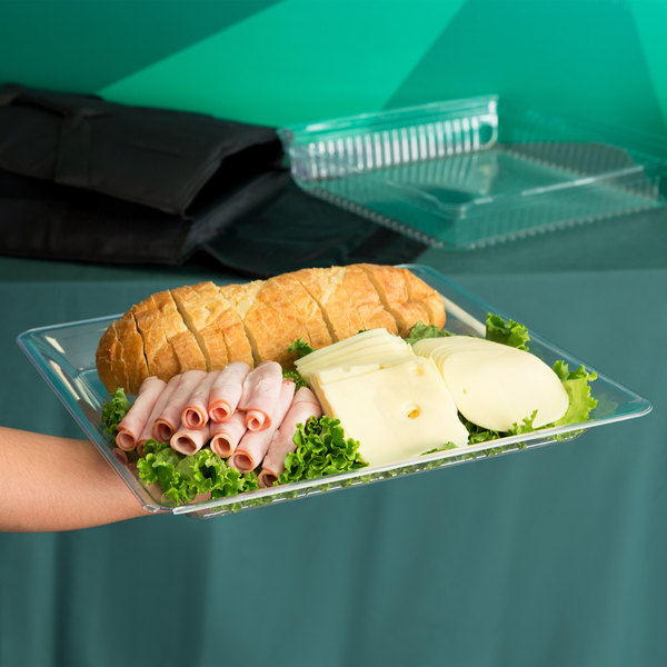 """Fineline Platter Pleasers 3516-CL 16"""" x 16"""" Plastic Clear Square Tray"""