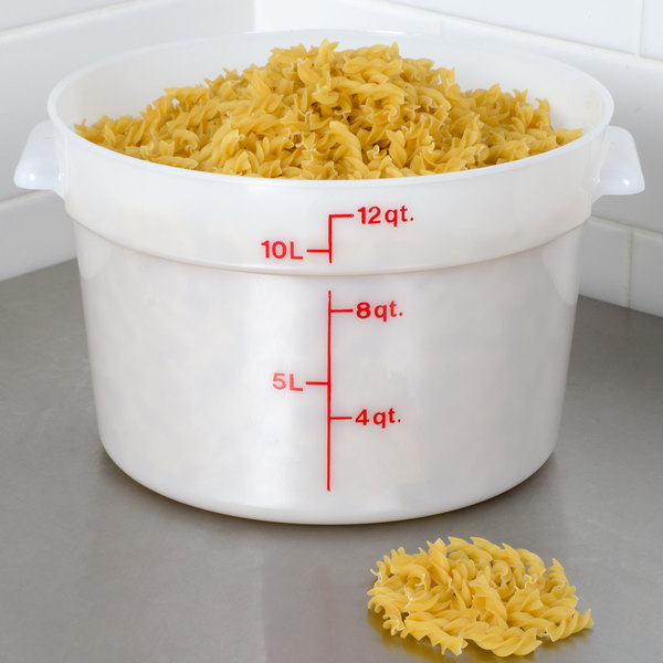 Cambro RFS12148 12 Qt. Round White Food Storage Container Main Image 2