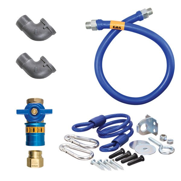 """Dormont 1675KITCF72 Deluxe Safety Quik® 72"""" Gas Connector Kit with Two Elbows and Restraining Cable - 3/4"""" Diameter Main Image 1"""