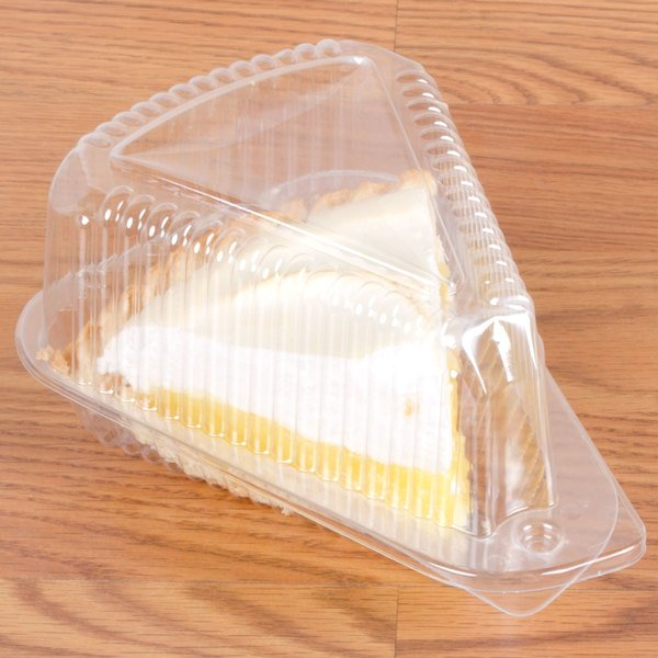 "Polar Pak 3210 5 3/8"" x 4 3/8"" x 3 1/2"" Clear OPS Wedge Single-Slice Pie Container with Medium Dome Lid - 300/Case"