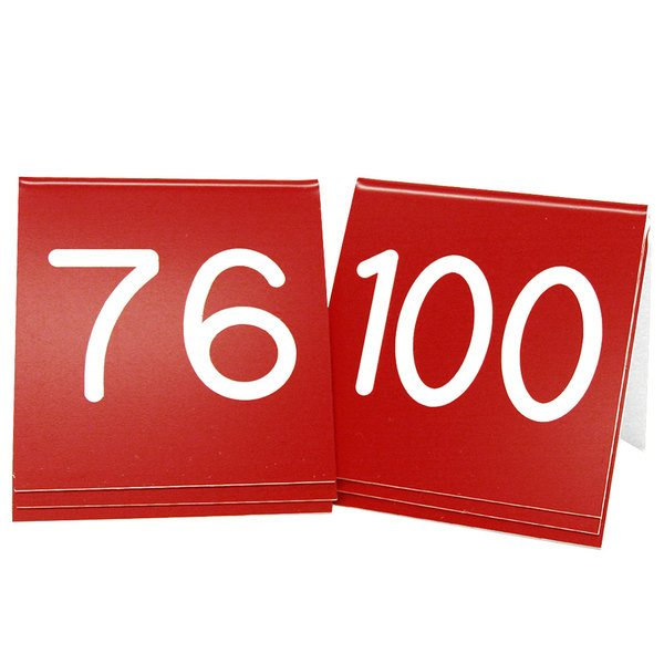 """Cal-Mil 269D-1 Red Engraved Number Tent Sign Set 76-100 - 3"""" x 3"""""""