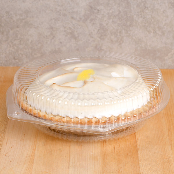 """Polar Pak 3325 10"""" Hinged OPS Plastic Shallow Pie Container - 200/Case Main Image 4"""