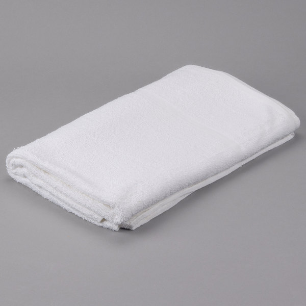 "Pack of 12 Hotel Pool Towel - Oxford Bronze 36"" x 68"" White 100% Ring Spun Cotton 12.75 lb."